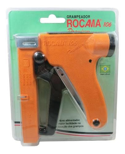 1 Grampeador Tapeceiro Rocama + 1 Cx Grampo 106/8 Rocama