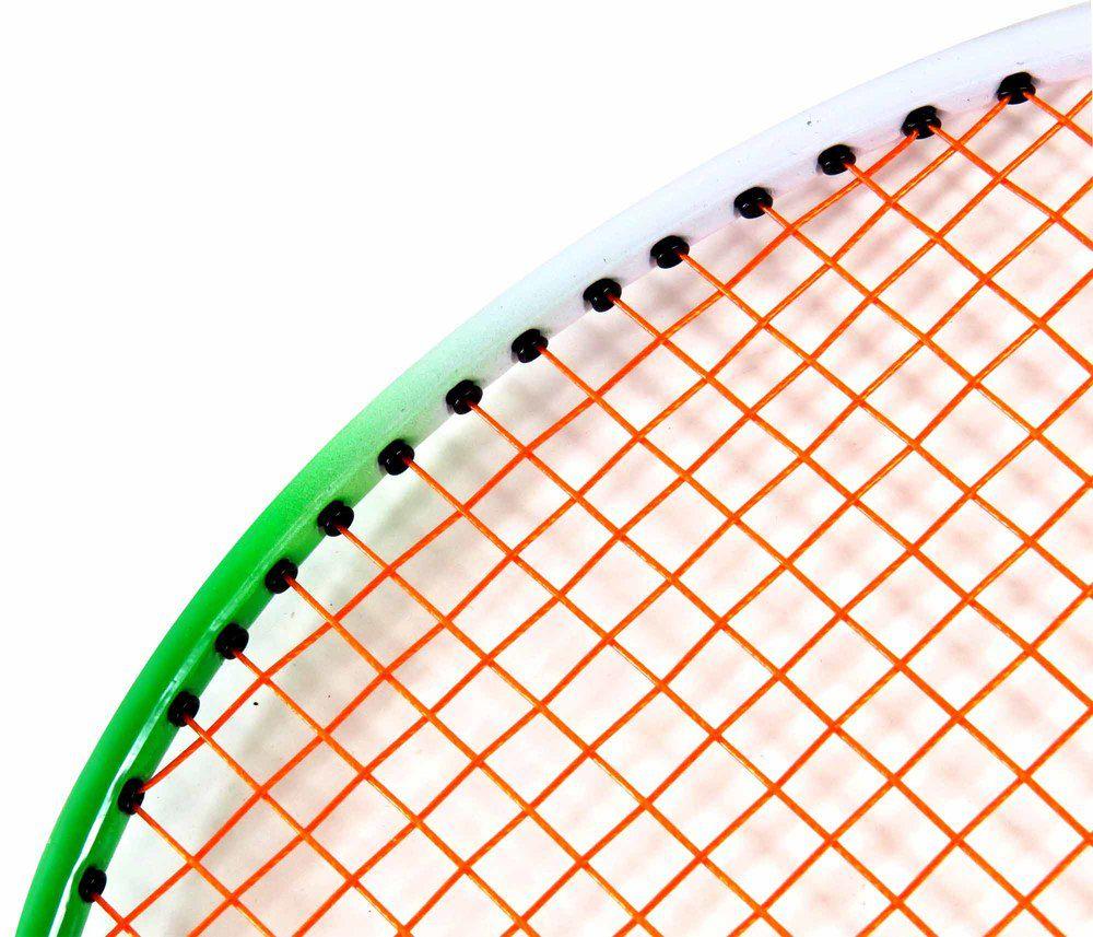 2 Raquetes De Badminton Verde E Branco Com Bolsa Raqueteira - 25