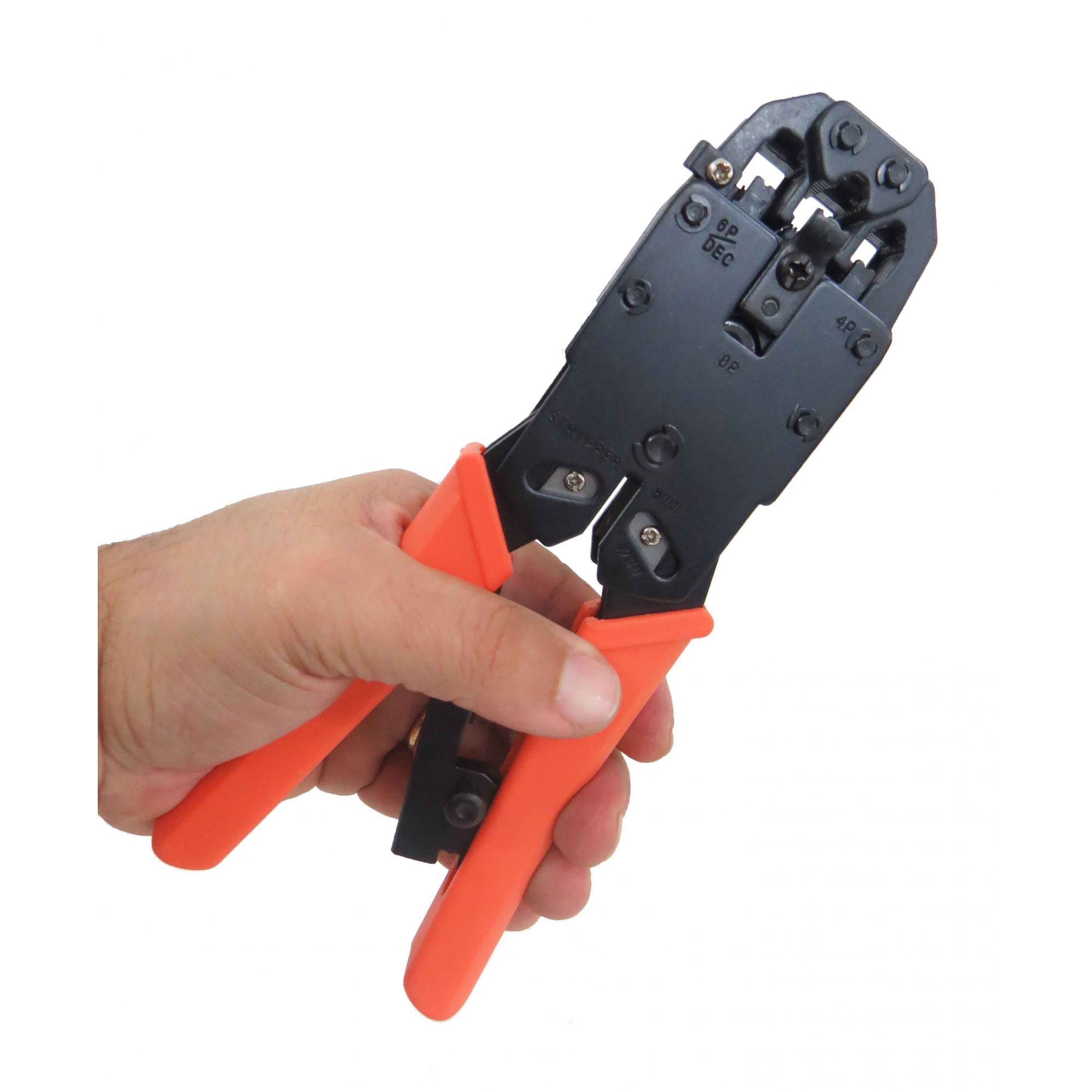 Alicate Para Crimpar Telefonia E Rede Decapador De Fios