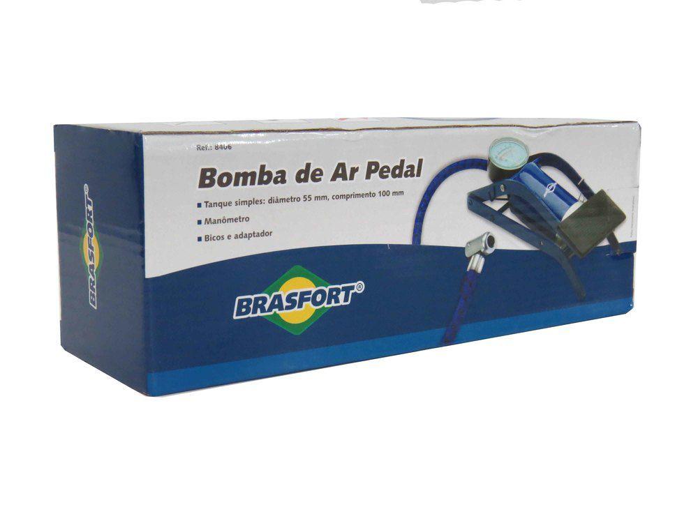 Bomba De Ar Com Pedal E Manômetro Brasfort