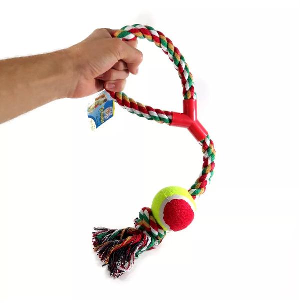 Brinquedo Mordedor Corda Com Bola Para Cães Cachorro Até 6kg