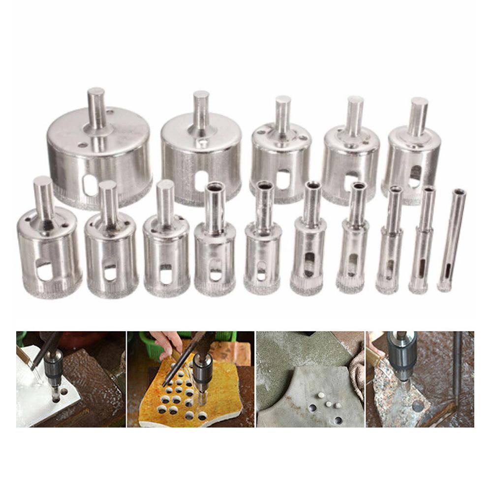 Broca Diamantada Porcelanato Vidro 6 A 50mm Kit 15 Peças