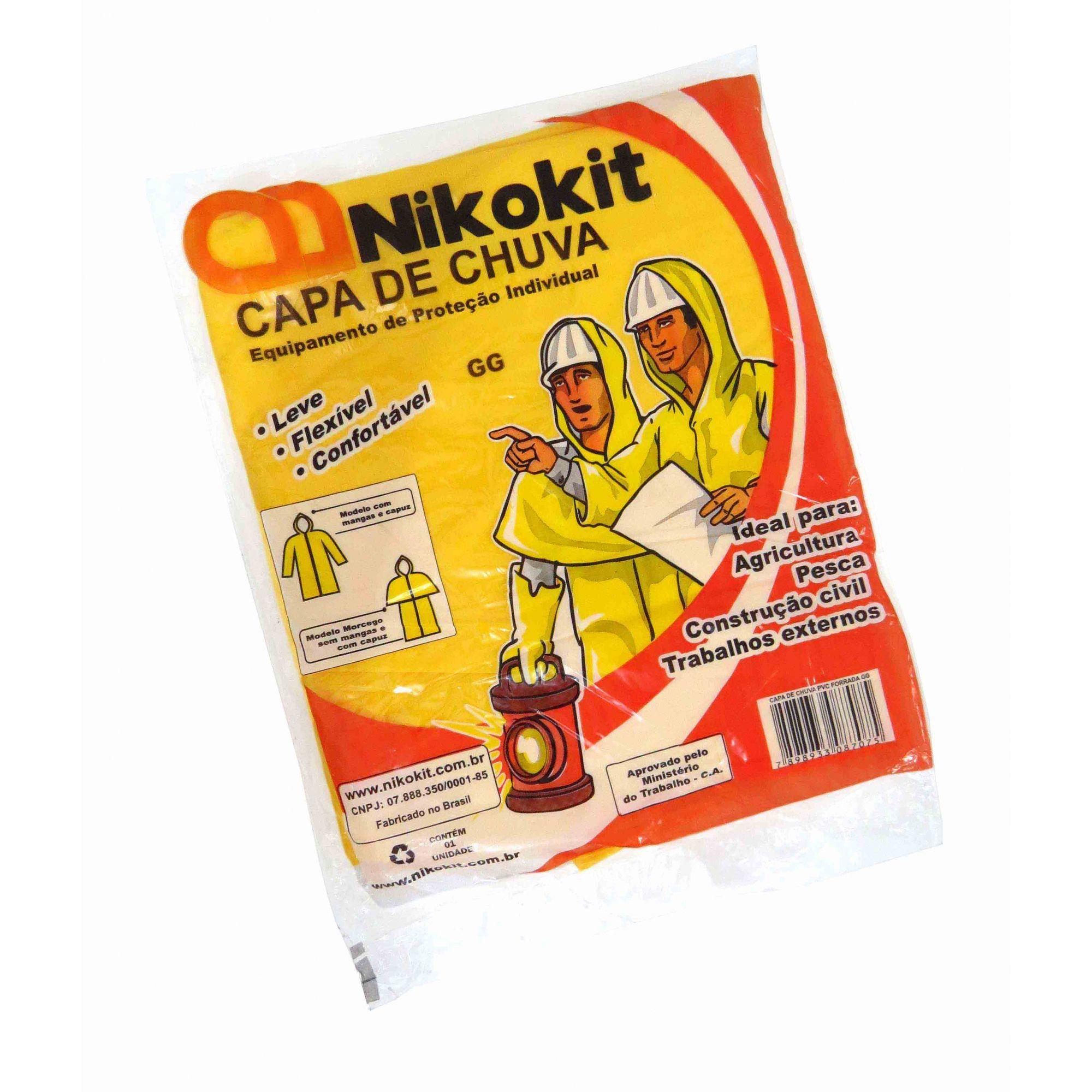 Capa de Chuva Nikokit GG Amarela ou Azul Com Forro
