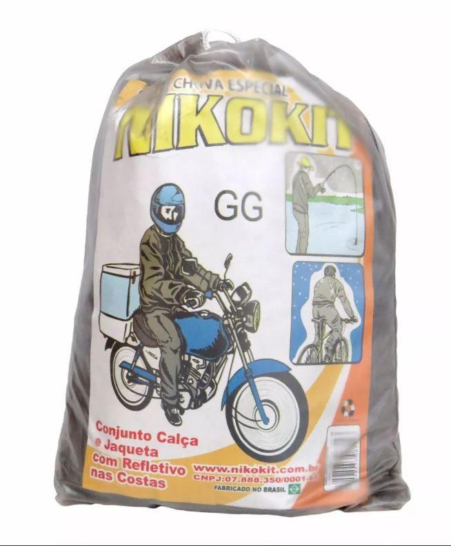 Capa De Chuva Nikokit Tipo Motoqueiro Transparente GG 087143