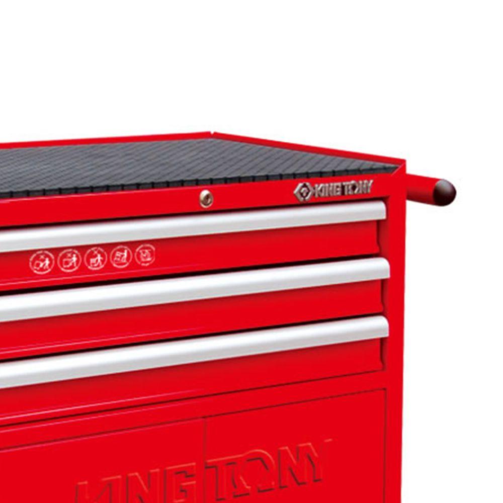 Carrinho Metálico de Manutenção Ferramentas Com 3 Gavetas Vermelho King Tony Cód.87438-3B