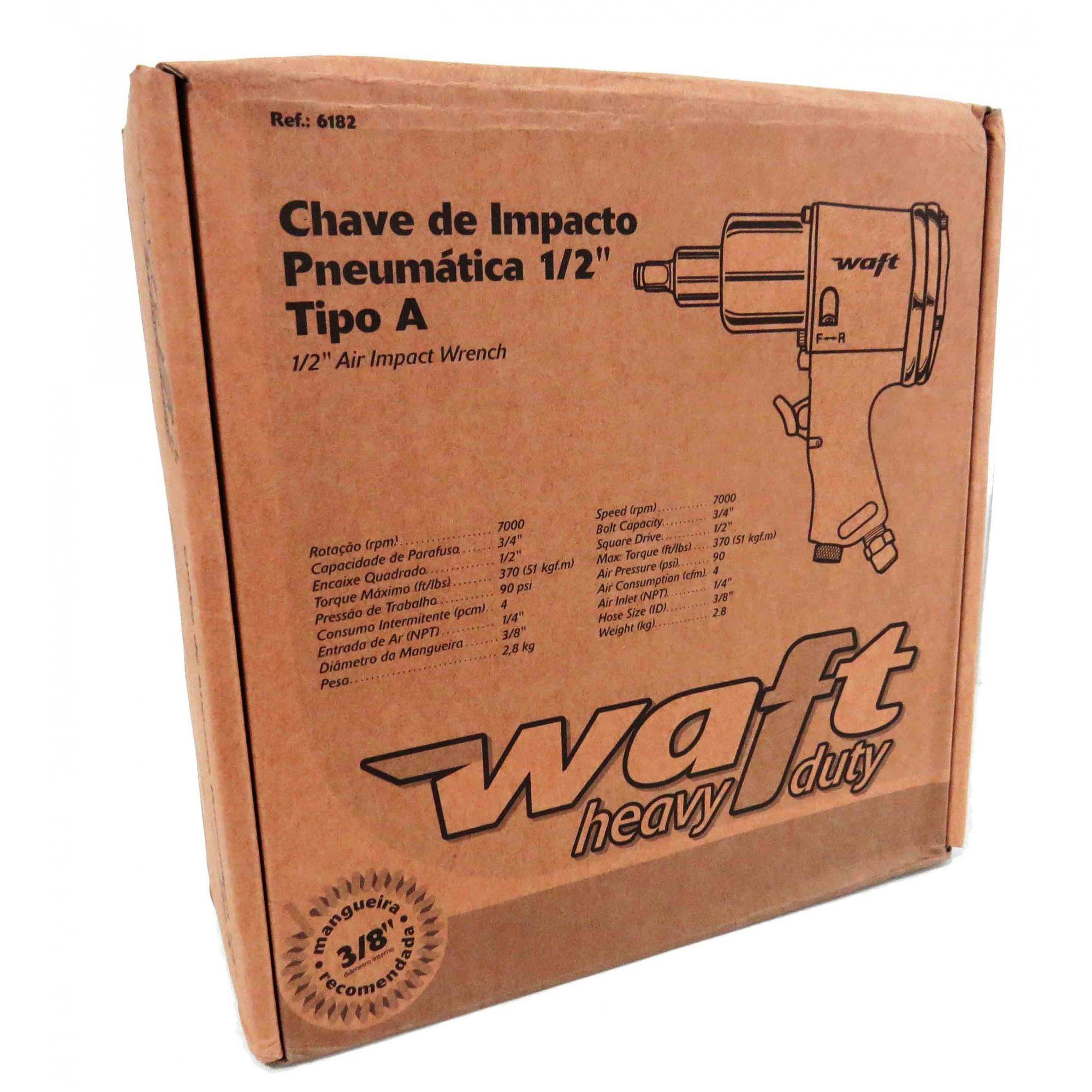 Chave Parafusadeira De Impacto Pneumatica 1/2pol 51kgf Profissional Waft BG3