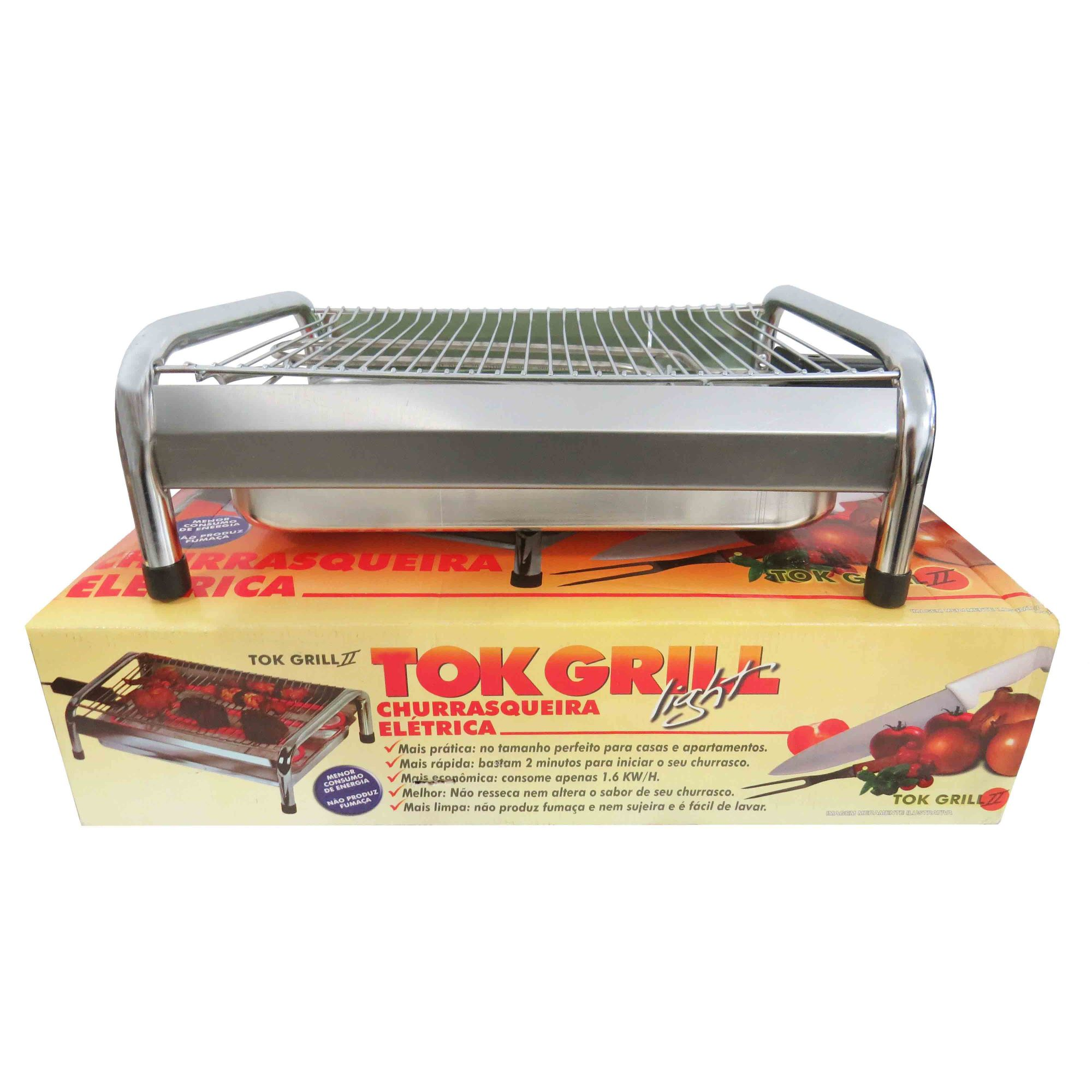 Churrasqueira Portátil Elétrica Com Grelha Tok Grill 220 V Cód.1049100