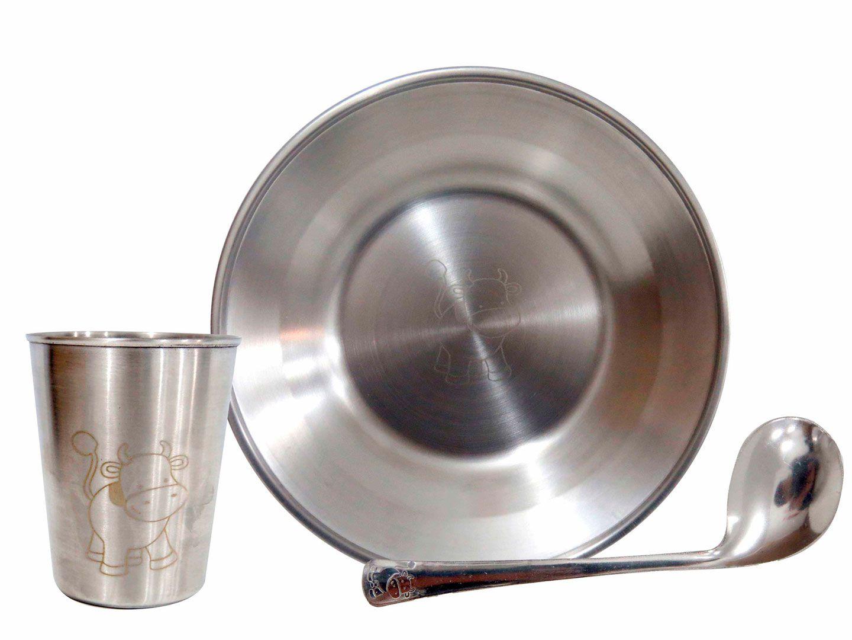 Conjunto Kit Infantil Gourmet Colher, Prato E Copo Inox