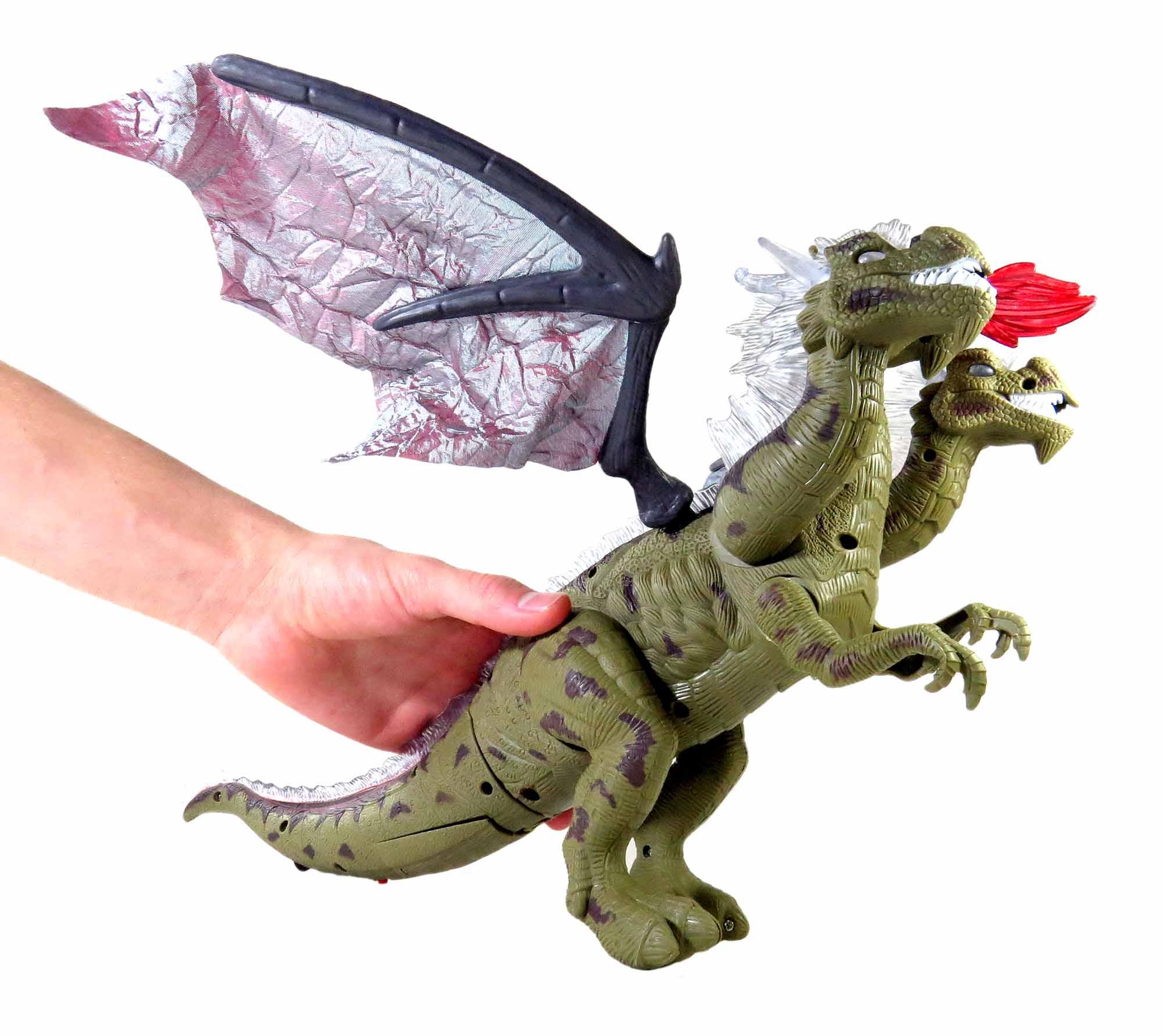 Brinquedo Dragão de 3 Cabeças Eletrônico Com Luz Led E Som