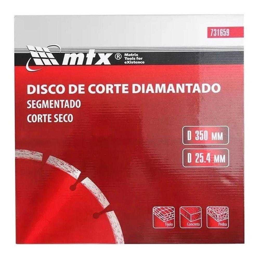 Disco de Corte Diamantado Segmentado 350mm 25,4mm Corte Seco