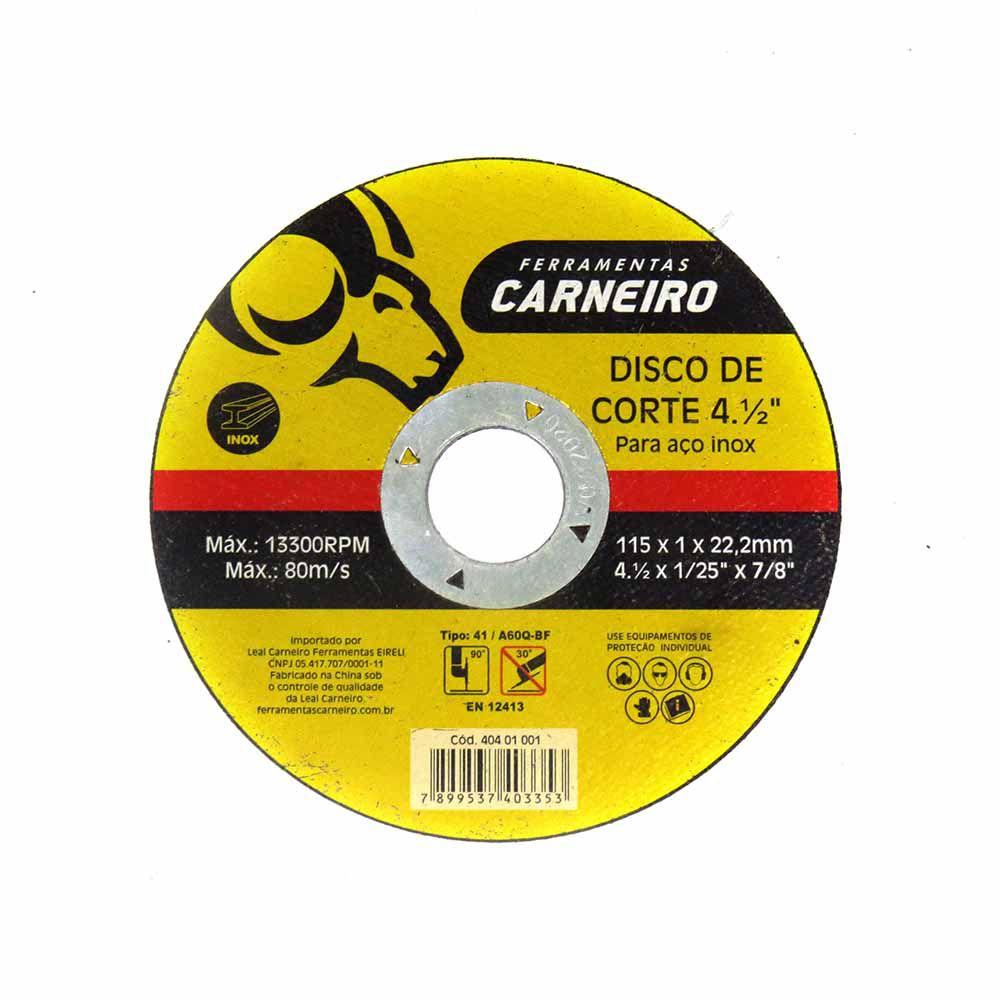 Disco de Corte Para Aço Inox 4.1/2 / 115x1,0x22,2mm Carneiro Cód.401001