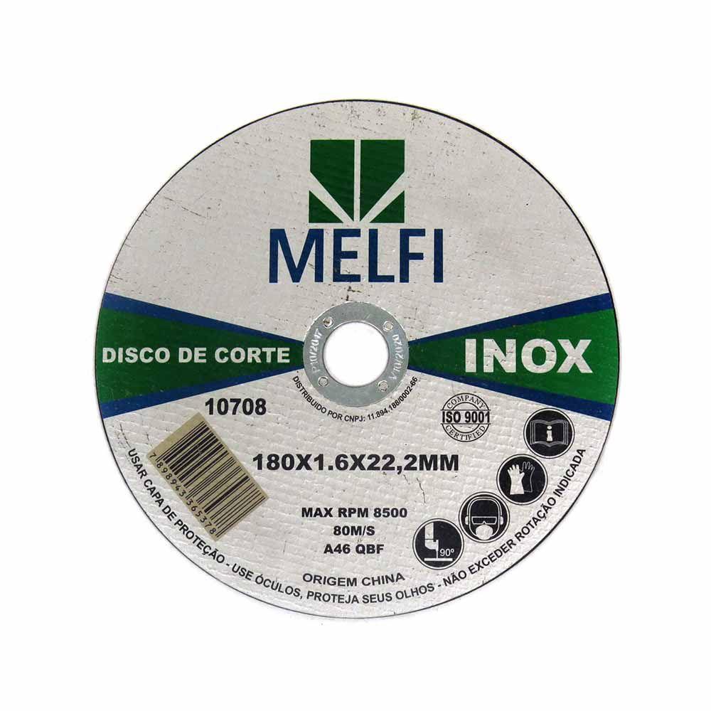 Disco de Corte Para Inox 180x1,6x22,2mm Melfi Cód.0708