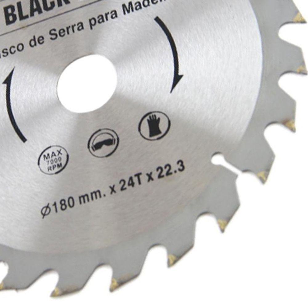 Disco de Serra Circular Madeira Vídea 180mm 24d Black Jack