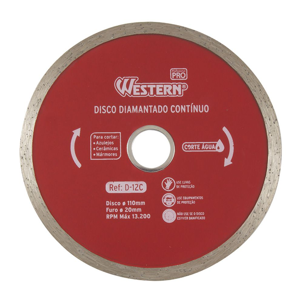 Disco Diamantado Contínuo 110mm 20mm Corte Água (10 Unidades)