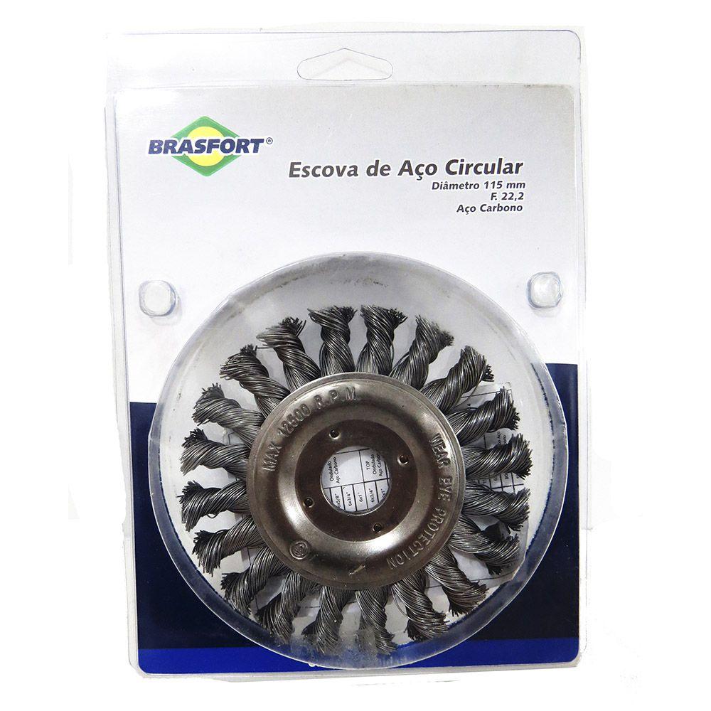 Escova De Aço Circular Com 5 Peças + Escova de Aço Trançado
