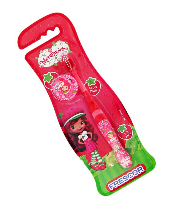 Escova Dental Infantil Com Capa Moranguinho Extra Macia