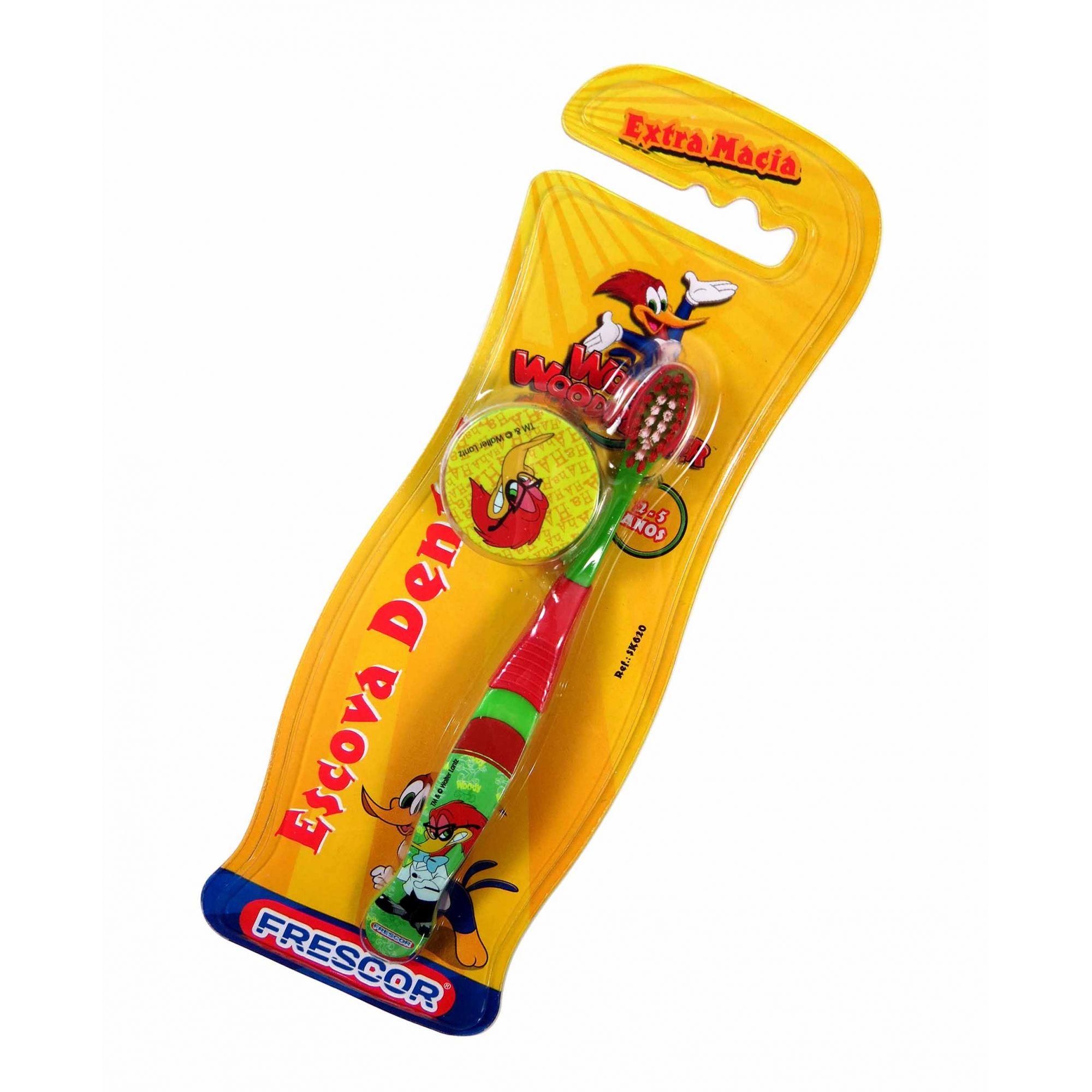 Escova Dental Infantil Com Capa Protetora Pica-Pau 2-5 Anos