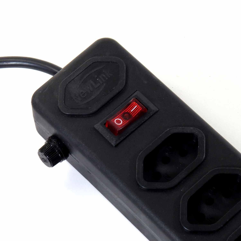 Tomada Extensão 6 Saídas Protetor Eletrônico Preto Bivolt