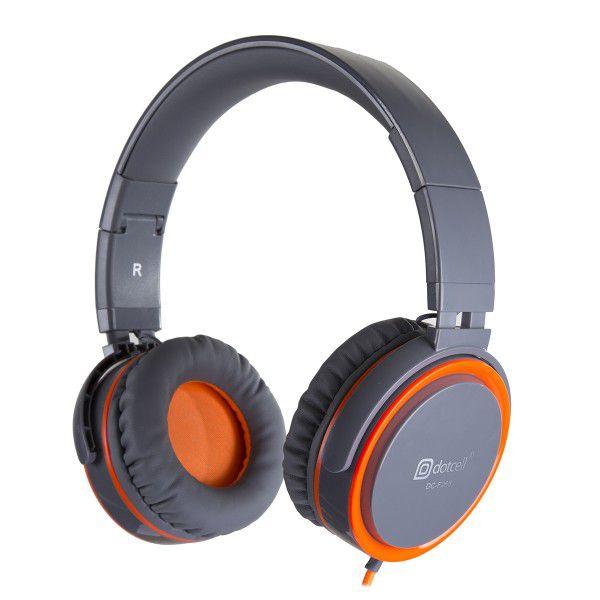 Fone de Ouvido Headphone Cinza/Laranja Alto Falantes