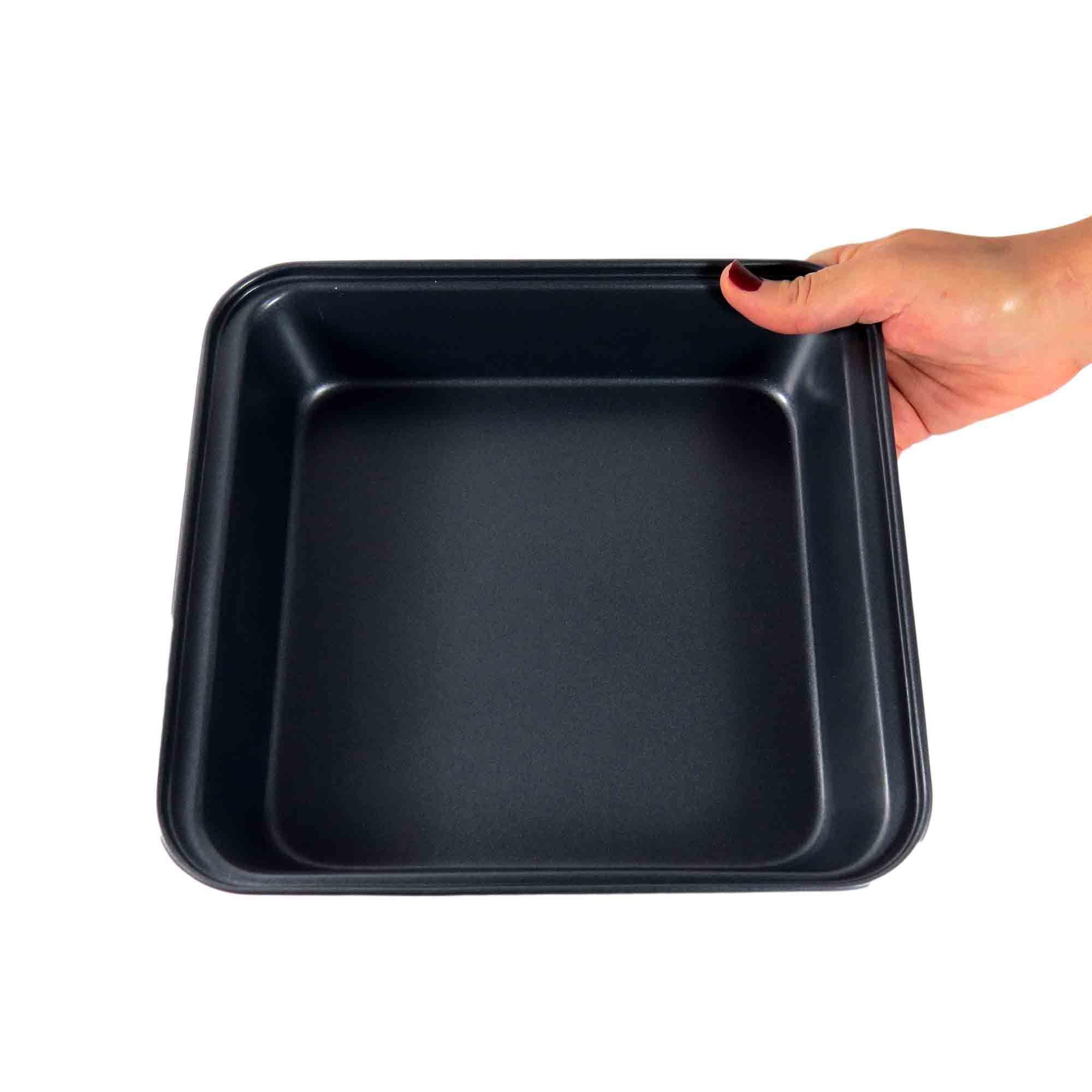 Forma Para Bolo Aço Carbono Antiaderente Quadrada 23x22,5cm