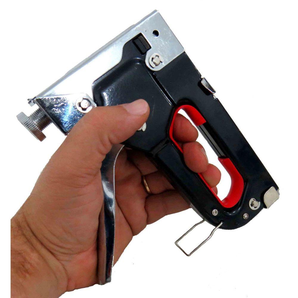 Grampeador Tapeceiro de Alta Pressão + 3050 Grampos 8mm