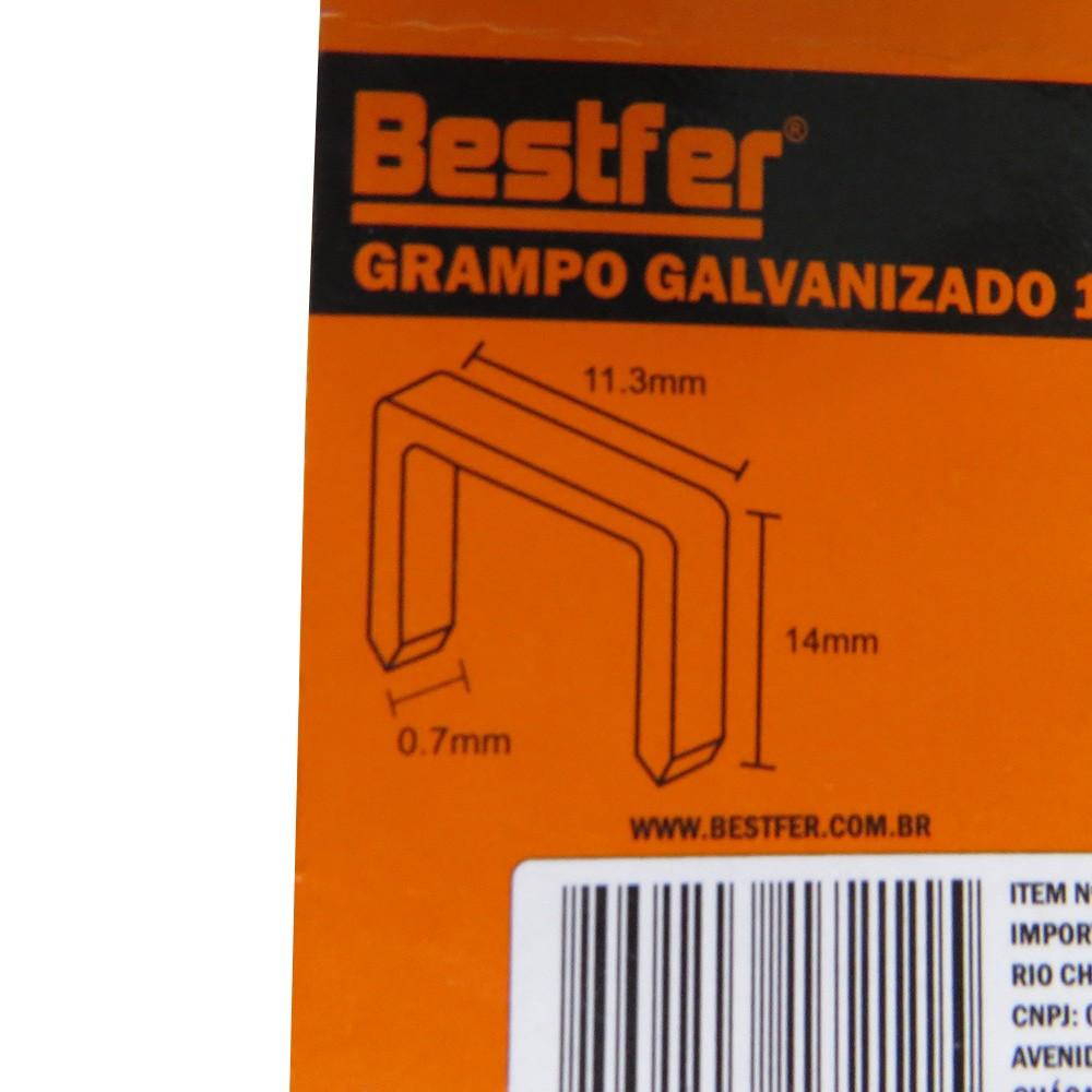 Grampo Galvanizado 14MM Tapeceiro U 2000 Unidades Bestfer