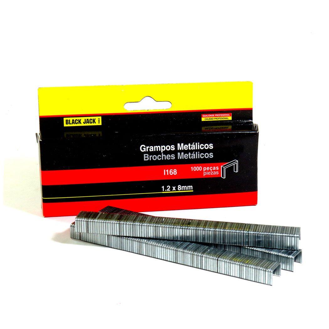Grampos Metálicos 1,2 Mm X 8 Mm 1000 Peças Black Jack