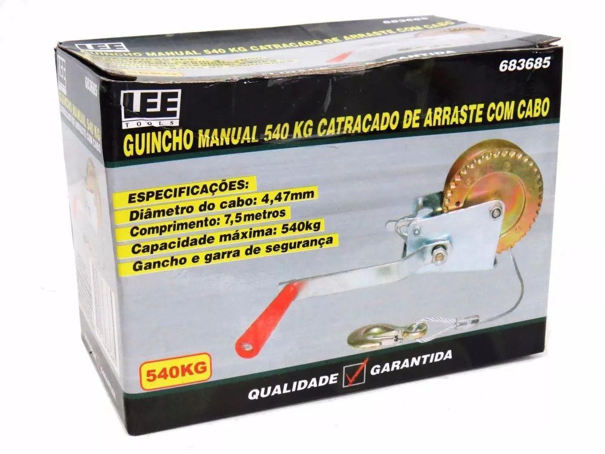 Guincho Manual Catracado Arraste 540kg Com Carretilha E Cabo