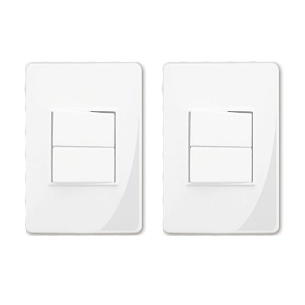 Interruptor Duplo Com Placa Branca F.C (2 Unidades)