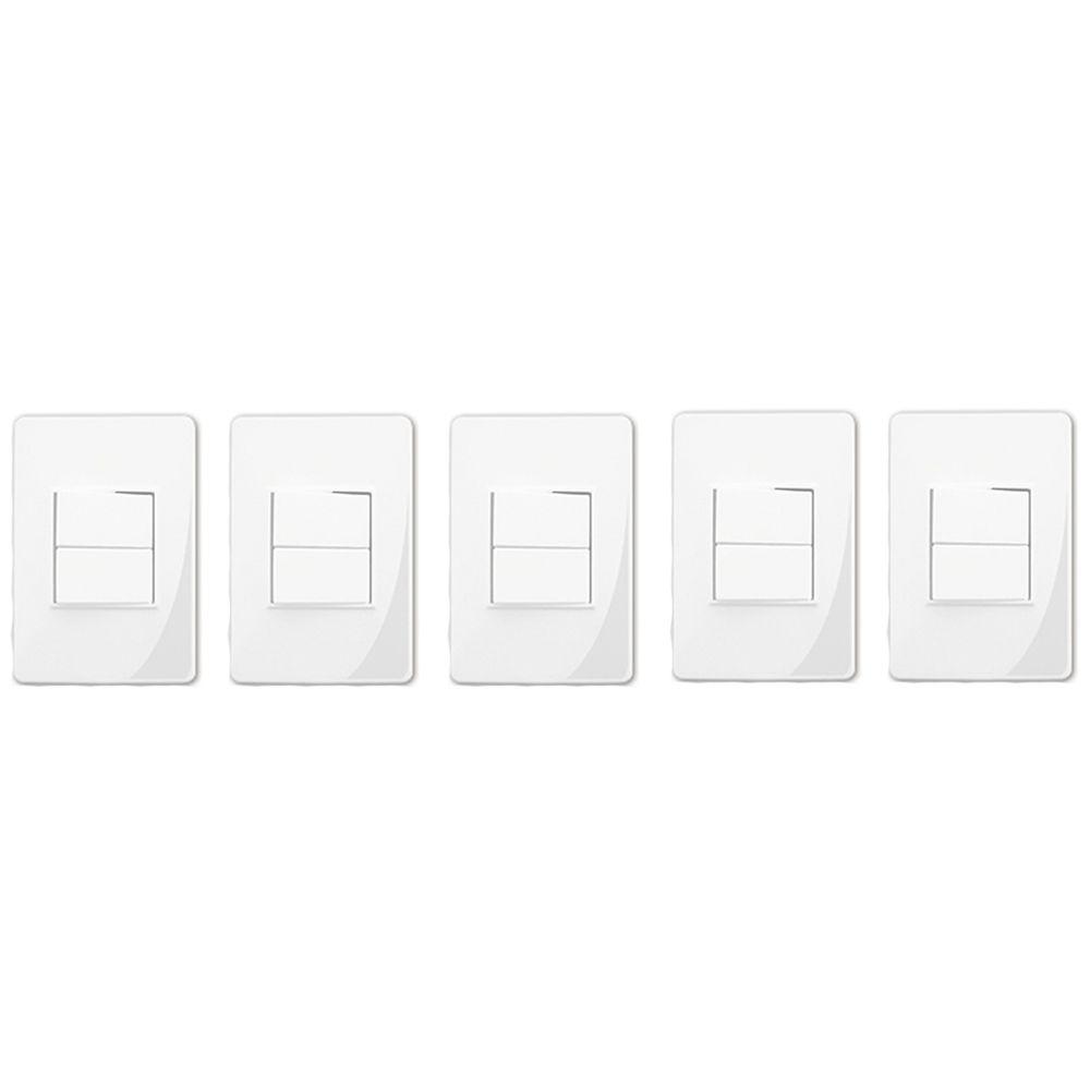 Interruptor Duplo Com Placa Branca F.C (5 Unidades)