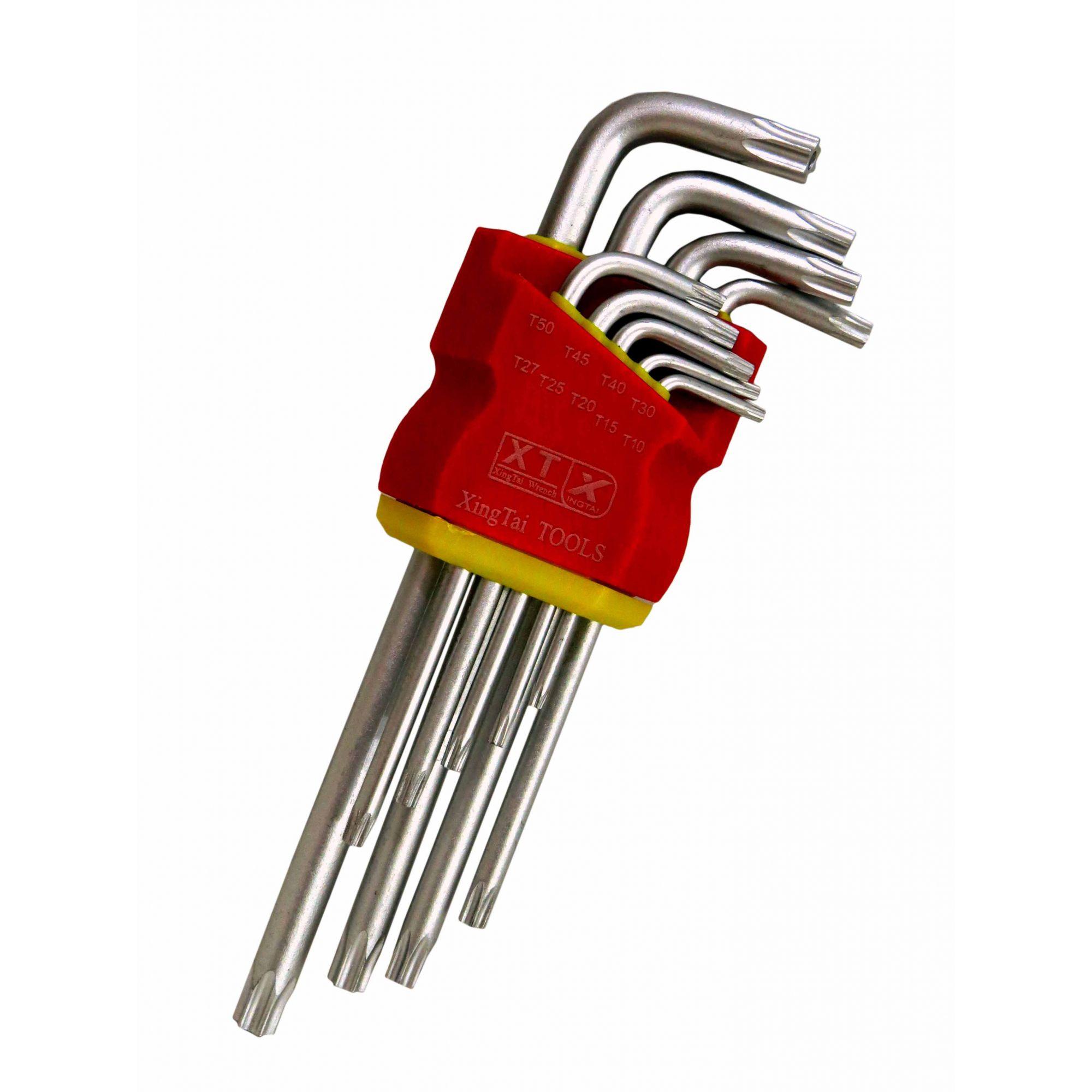 Jogo Kit Chave Torx 9 Peças Tipo L Estojo 1,5 10mm