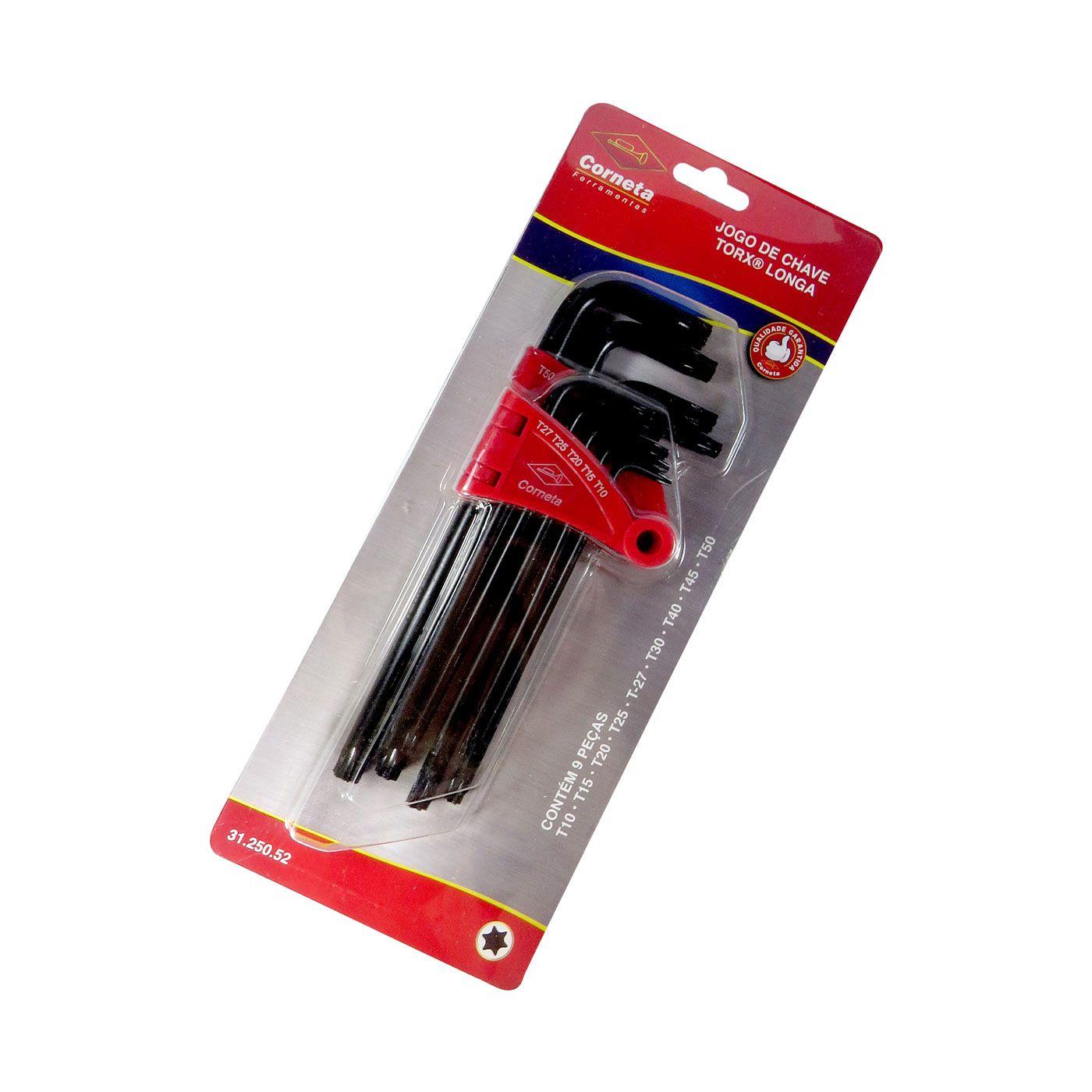 Jogo Chave Torx Longa T10-T50 09 Peças Profissional CRV Corneta