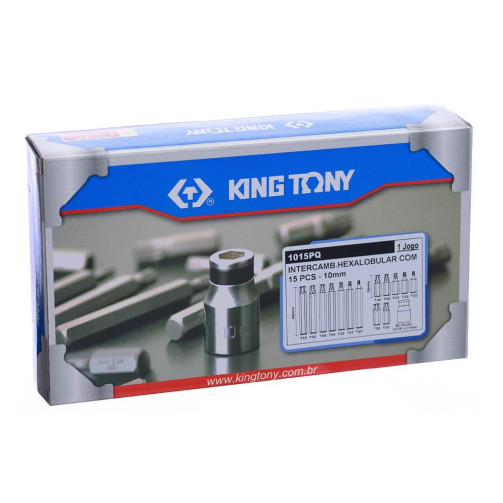 Jogo Chave Torx Tipo Bits Intercambiáveis 10mm 15 Peças King Tony