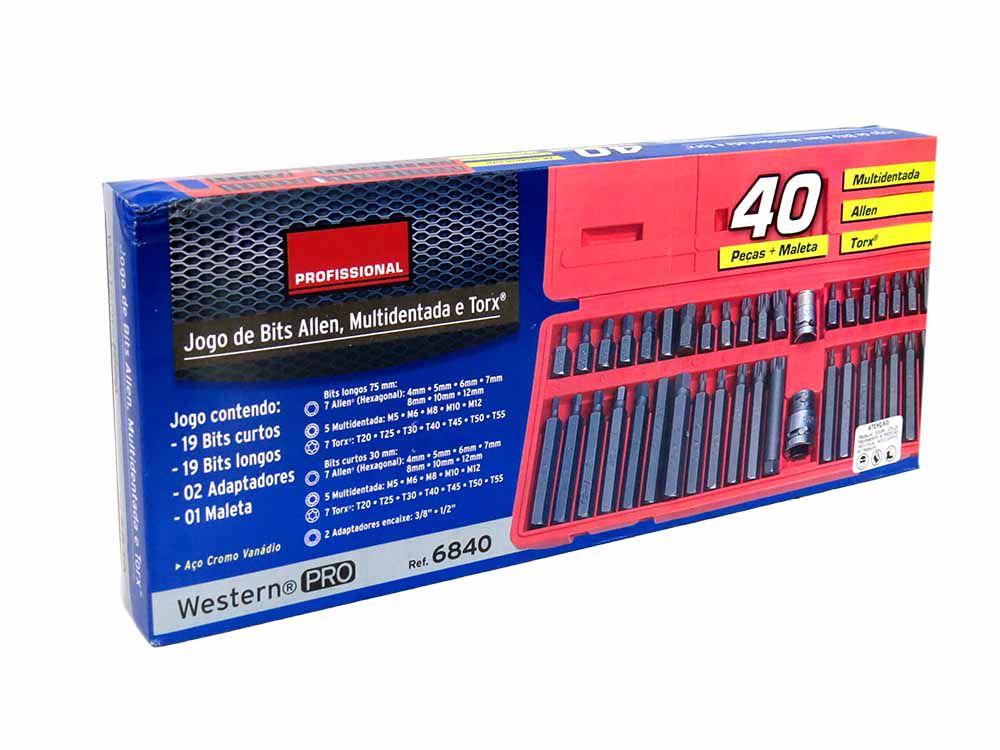 Jogo de Bits Allen Multidentada Torx 40 Peças(E)