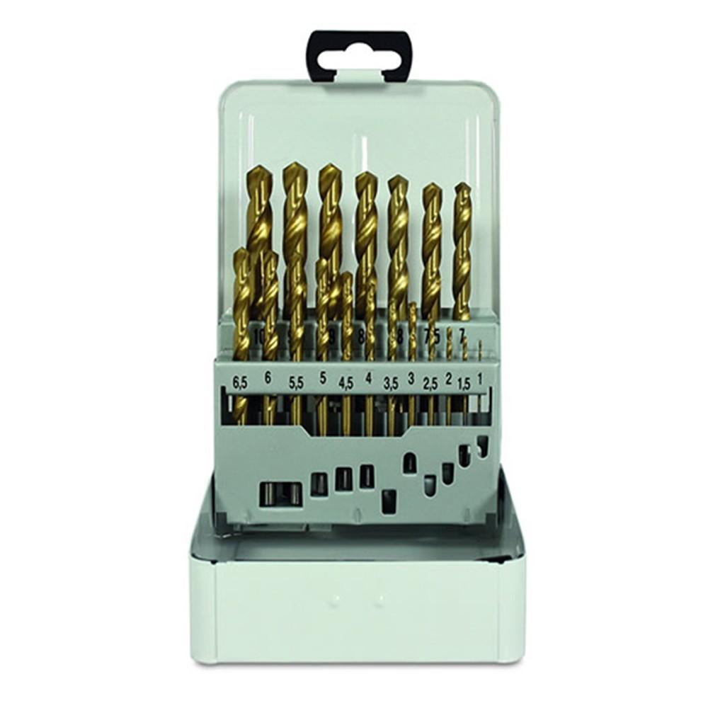 Jogo de Brocas Aço Rápido Hss 1,0 a 10,0mm Titânio 19 Peças Para Metal Ferro Rocast