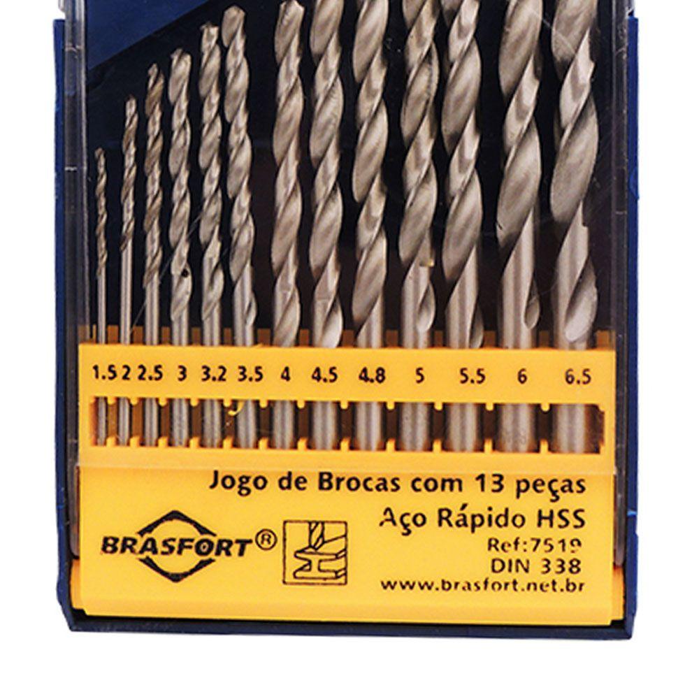 Jogo de Brocas Aço Rápido HSS Metal 13 Peças 1.5 à 6.5MM