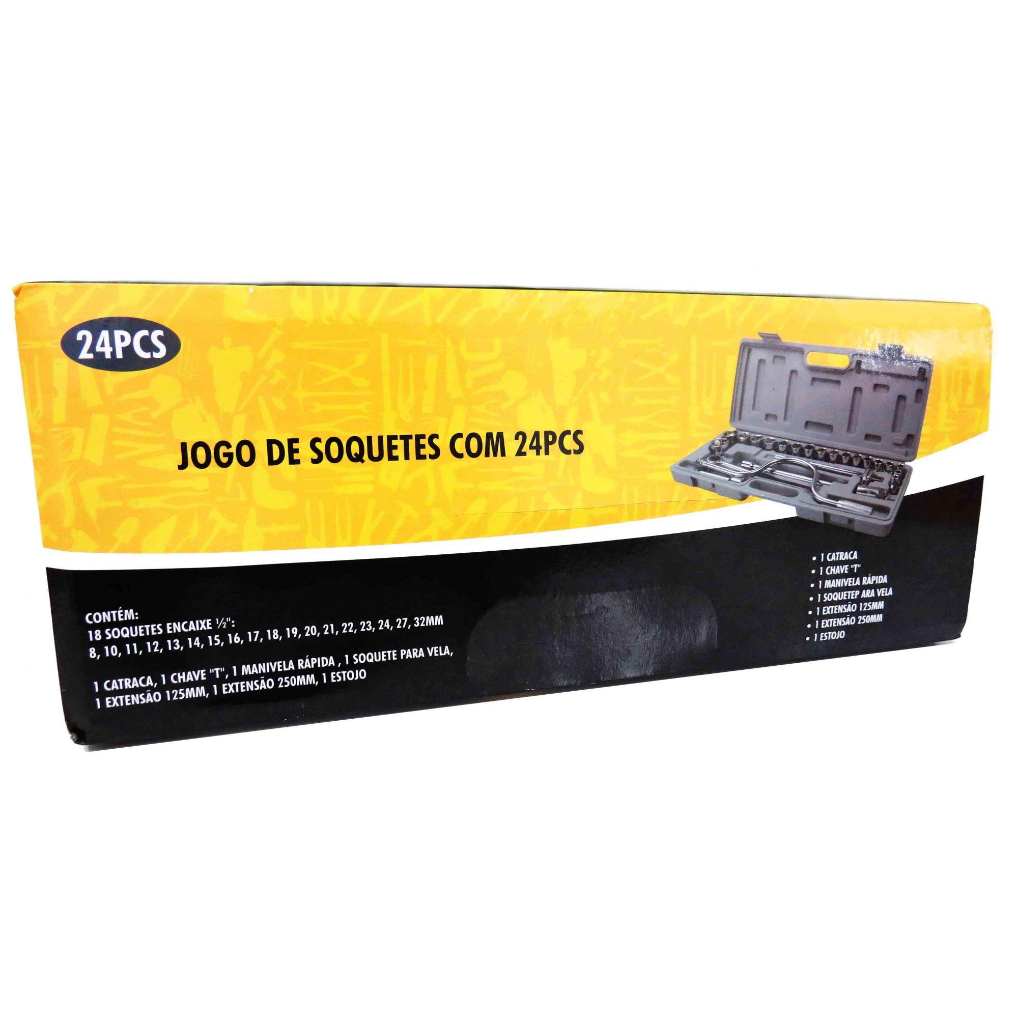 Jogo De Soquetes Com 24 Pcs 8 A 32mm Encaixe 1/2 Pol