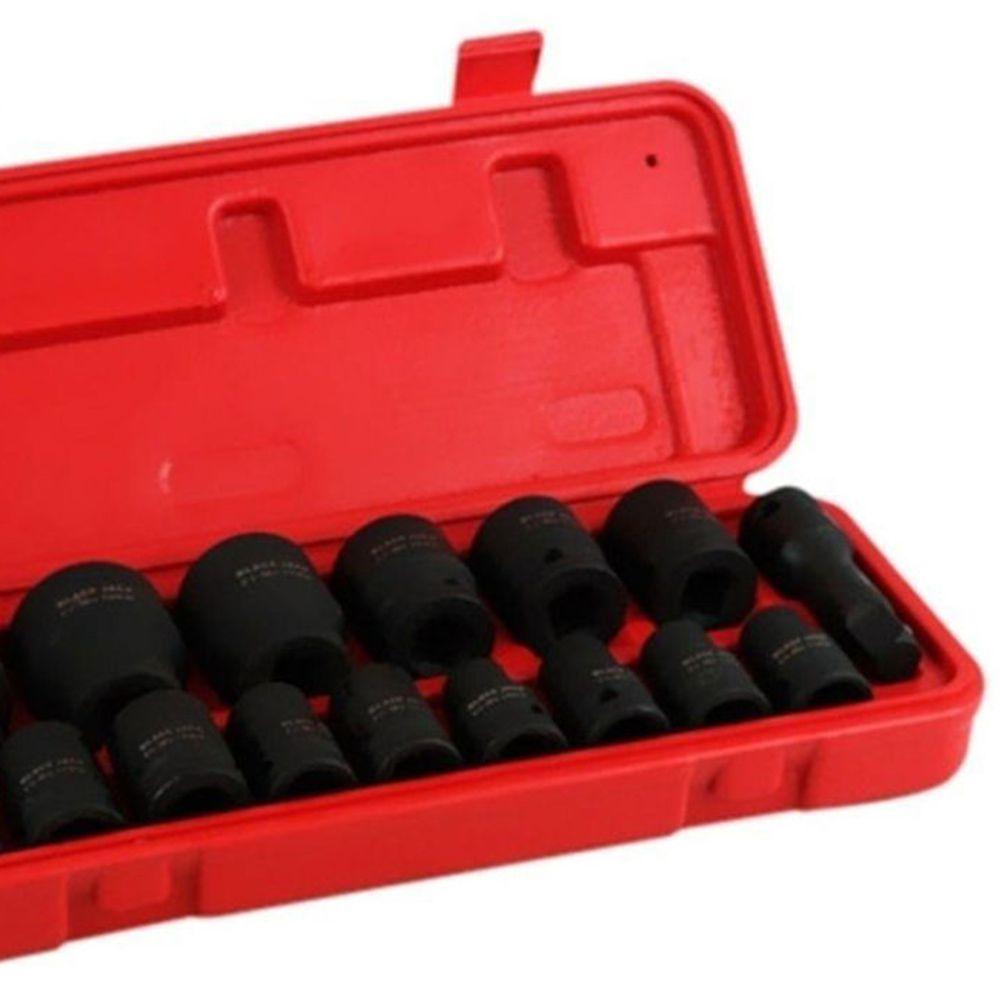 Jogo de Soquetes de Impacto 1/2 Pol 10-32mm 16 Peças