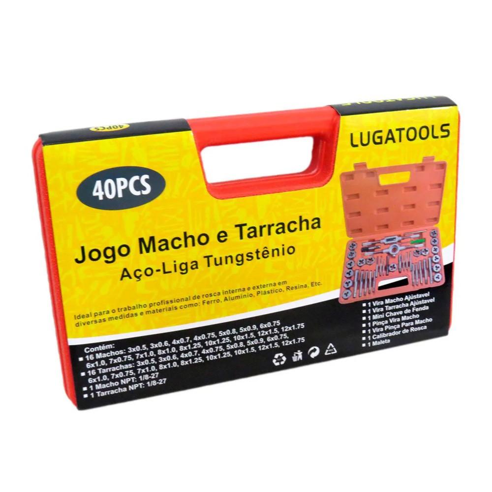 Jogo Macho E Tarracha Com 40 Peças Tungstênio Para Metal