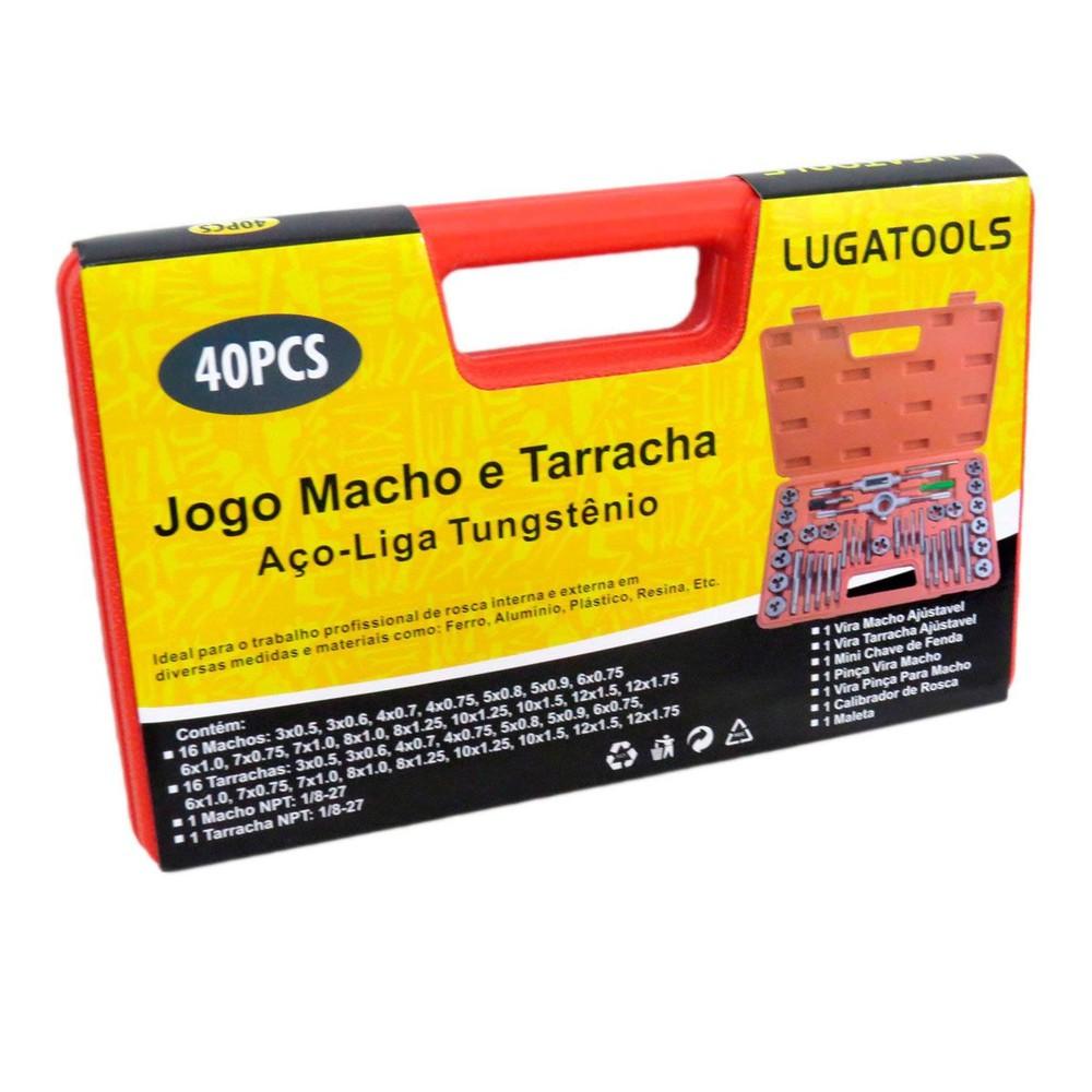 Jogo Macho e Tarraxa 40 Peças + Kit Extrator de Parafusos