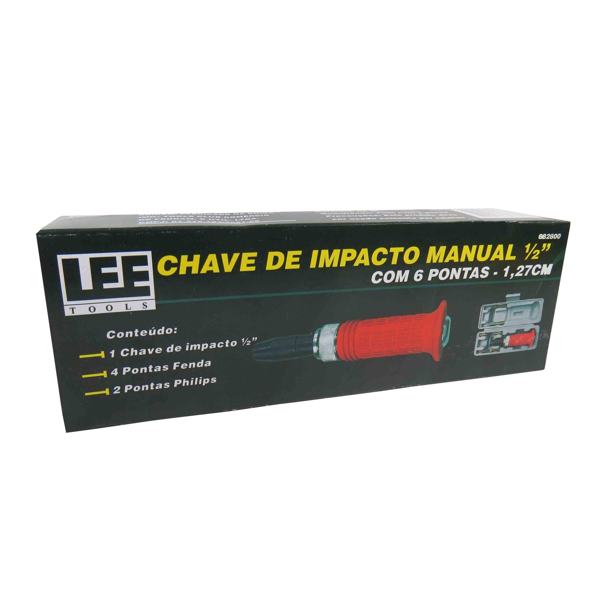 Kit Chave De Impacto Manual E Bits Jogo Com Estojo 7 Peças