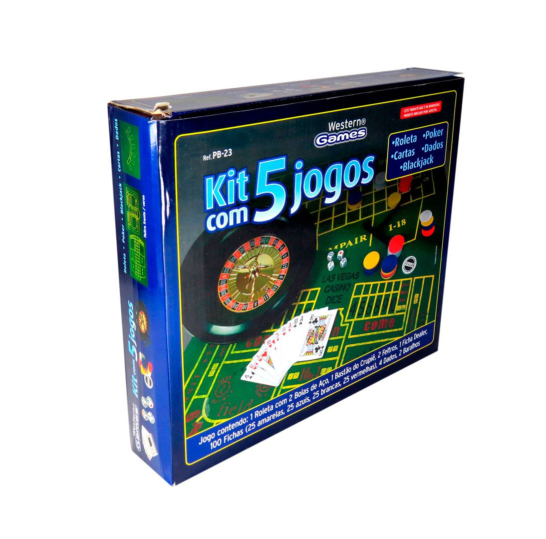 380adafbf Kit Com 5 Jogos Roleta, Cartas, Poker, Dados E Blackjack - Loja Stander ...
