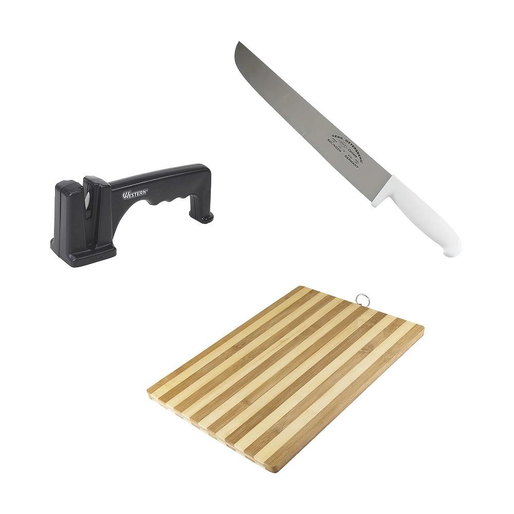 Kit com Faca de Aço Inox 10Pol, Amolador e Tábua de Carne