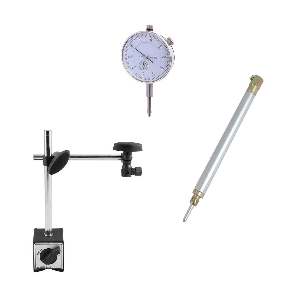 Kit com Relógio Comparador, Haste e Base Magnética de 60Kgf