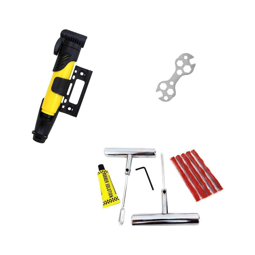 Kit para Reparo de Pneu de Bicicleta com Bomba de Ar e Chave