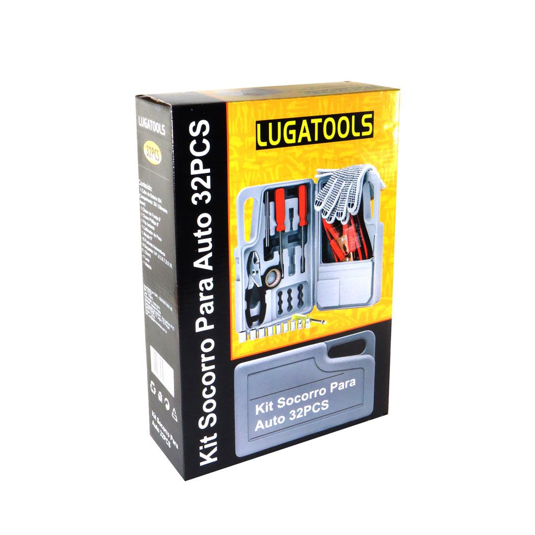 Kit Socorro Emergência Para Automotivo 32 Peças Lugatools