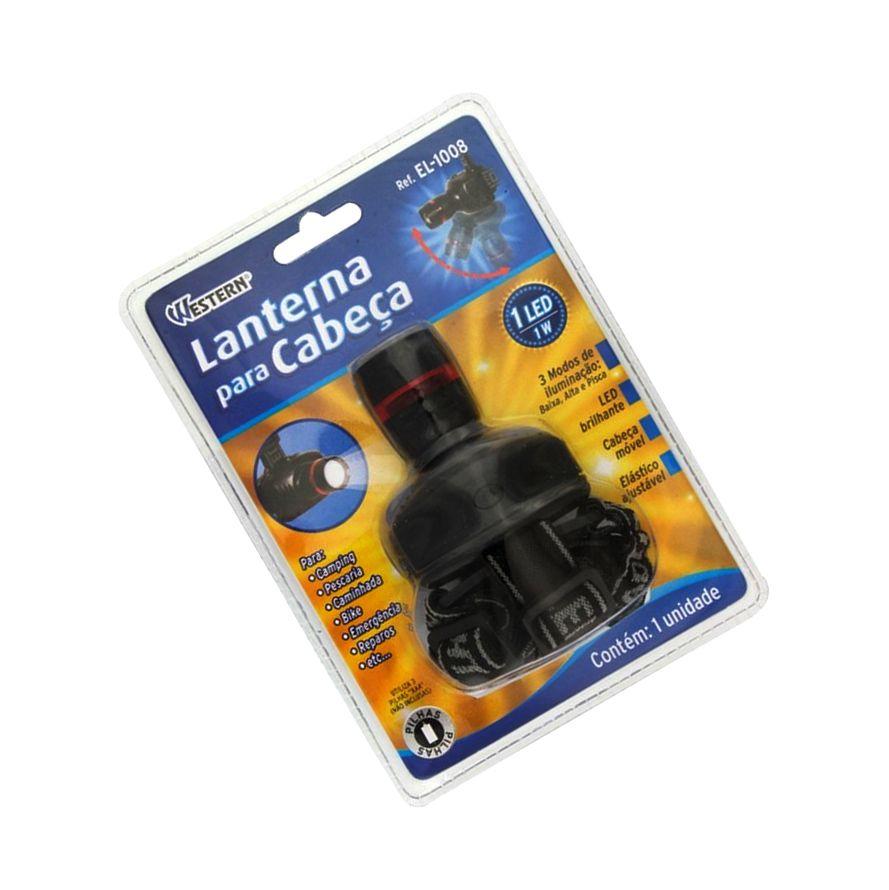 Lanterna De Cabeça Para Camping 1 Led 1W Western Cód.EL-1008