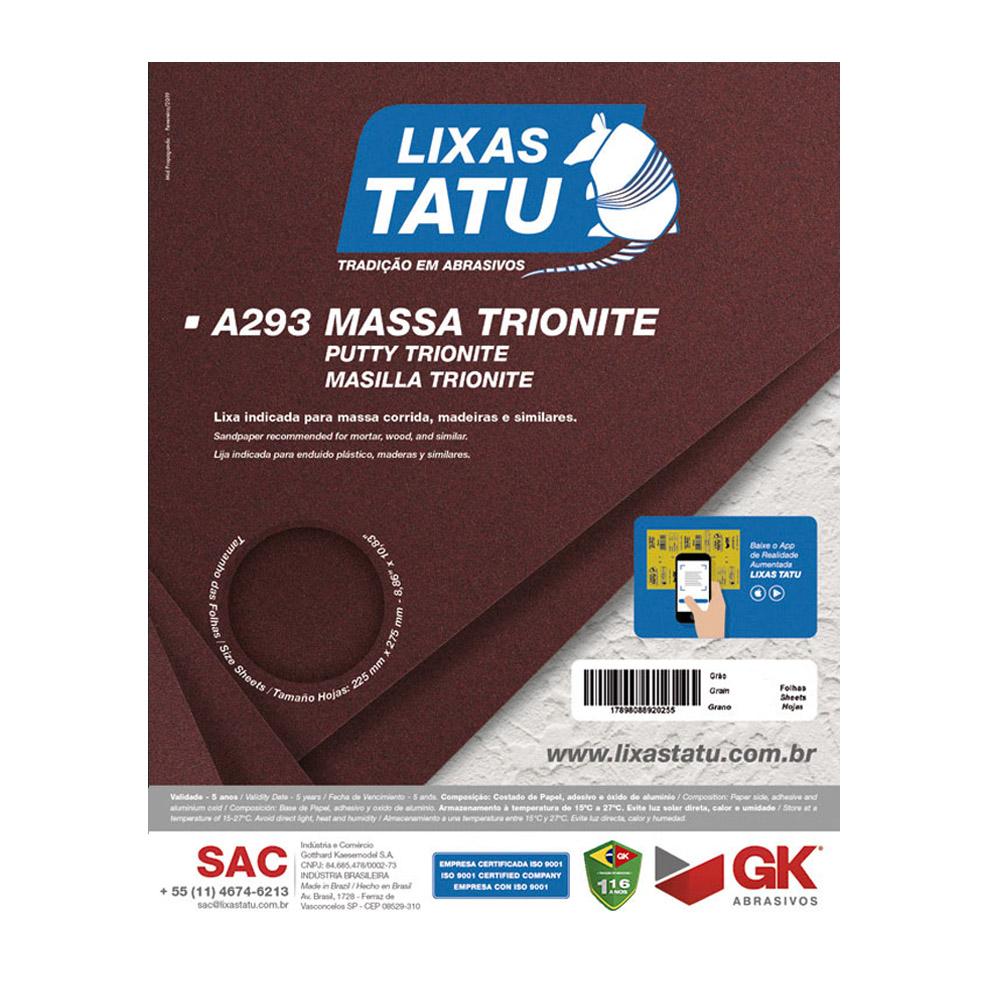 Lixa Massa Trionite A293 Grão 120 F 225 x 275 (50 Folhas) Lixas Tatu