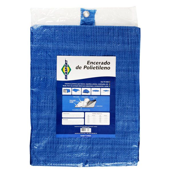 Lona Azul Fina Encerado de Polietileno 8mx4m 100Gsm Brasfort