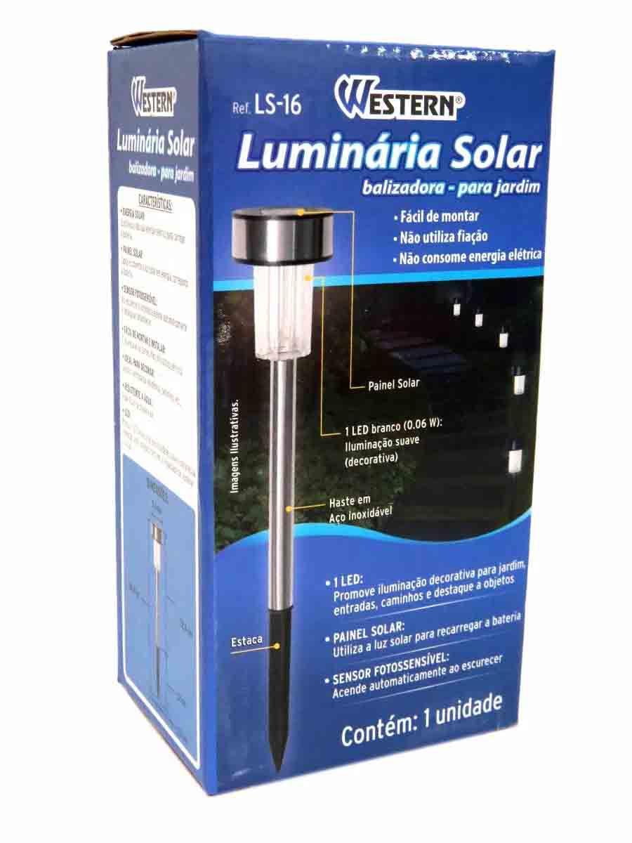 Luminária Solar Poste De Jardim Luz Led Economica